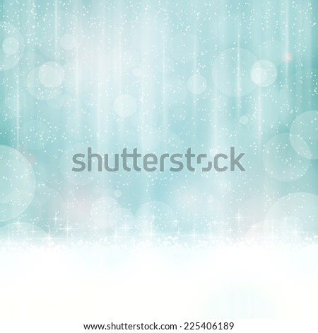 Abstract background in winter colors with blurry light dots. Stars and light effects give it a dreamy, soft feeling and a glow perfect for the festive Christmas season to come. Copy space. - stock photo