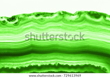 Abstract background - intense green agate cross section slice mineral isolated on white background
