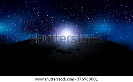 Abstract background is a space with stars nebula and Earth - stock photo