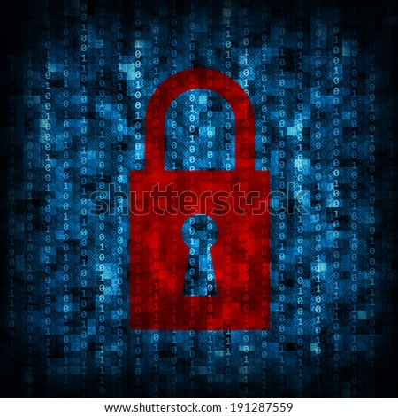 Abstract background is binary code and lock icon. Electronic concept