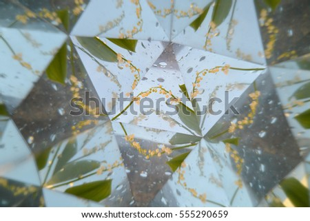 Abstract background, leaves, kaleidoscope effect