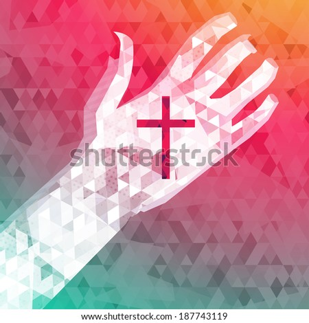 abstract background left hand with christian cross (raster version) - stock photo
