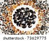 Abstract background made from natural black and colorful seashells of different kinds on white. - stock photo