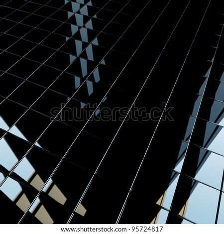 Abstract background made of black flat glossy cubes with strong reflection. High resolution 3d-rendering, square format - stock photo