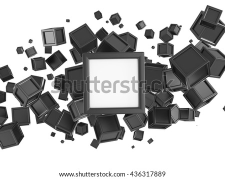 Abstract background made of colored boxes with copy space in the center. Concept of city top view. 3d rendering. - stock photo