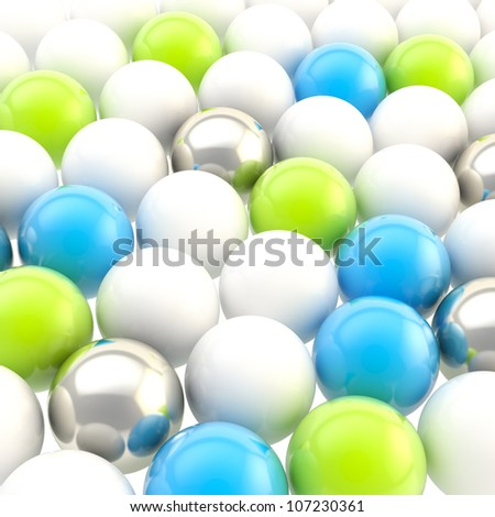 Abstract background made of colorful blue, green, chrome silver and white spheres