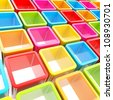 Abstract background made of colorful glossy cube cell composition - stock photo