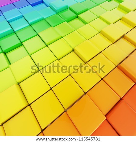 Abstract background made of colorful glossy rainbow colored cubes