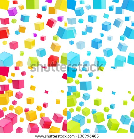 Abstract background made of cubes over white backdrop, set of four - stock photo