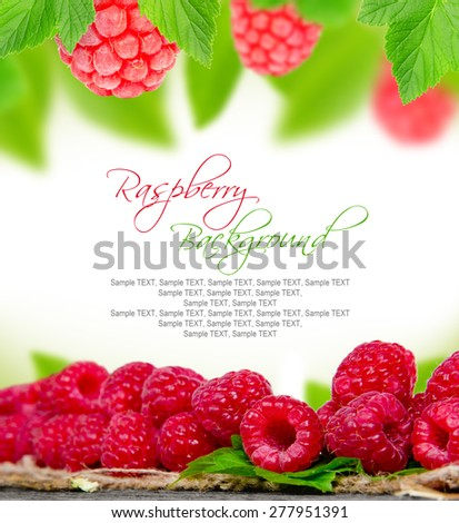 Abstract background made of raspberries and leaves - stock photo