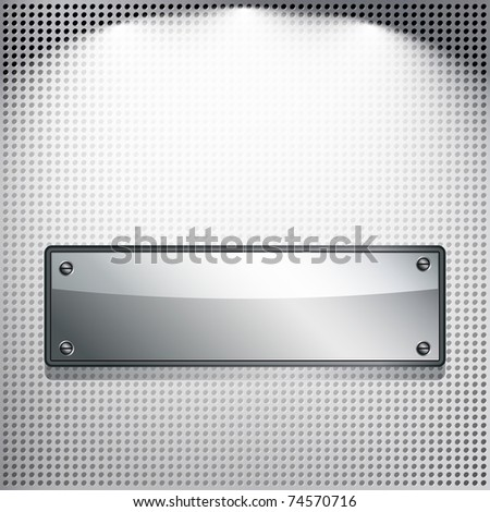 Abstract background. Metal banner on a meshed background. - stock photo