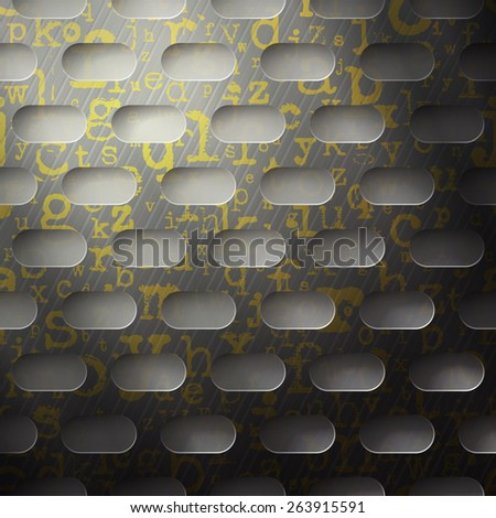 abstract background, metallic grid with golden alphabet letters - stock photo