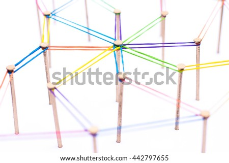 Abstract background networking,social media concept, internet communication concept,link concept,The photo isolated white background. - stock photo