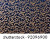 Abstract background of a heavy deep blue brocade fabric with interwoven repeat design. - stock photo
