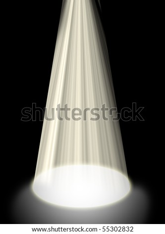 Abstract background of a spotlight shining on the floor isolated on black. - stock photo