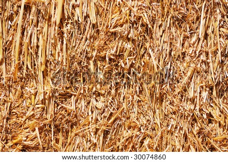 Abstract background of a tightly packed bale of straw - stock photo