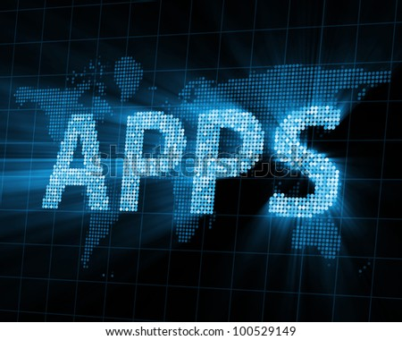 Abstract Background of APPS with Glowing Rays - stock photo