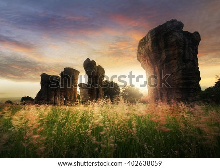 Abstract background of beautiful nature during sunrise time at Stonehenge of Thailand , MOR HIN KHAOW CHAIYAPHUM - stock photo