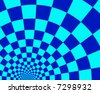 Abstract background of blue and cyan checker pattern arcs. - stock vector
