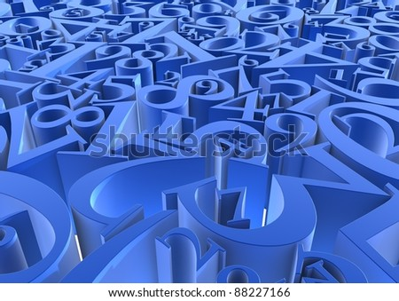 Abstract background of blue numbers