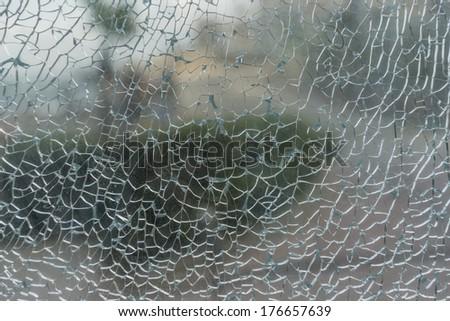 Abstract Background of Broken Window Glass Texture - stock photo