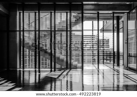 Abstract background of building interior architecture, black and white.