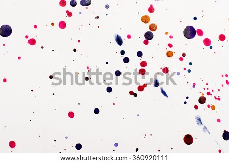 abstract background of chaotic blots and splashes of watercolor paint on white paper. Arbitrary direction strokes. Background illustration for design