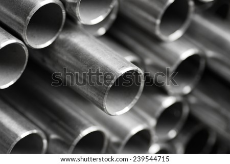 abstract background of close up of metal pipe - stock photo