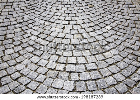Abstract background of cobblestone pavement - stock photo