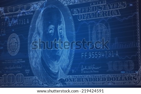 Abstract background of 100 dollar bill on Stock Market Chart - stock photo