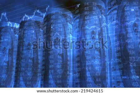 Abstract background of Five Rolled Up 100 Dollars Bills Showing Ben Franklin and Ticker Data