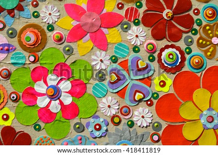 Abstract background of flowers. Close up. Grunge acrylic painting on canvas, 3d, three, dimensional embossing and carving, Unique technique. Highly textured. Modern art, contemporary art. - stock photo