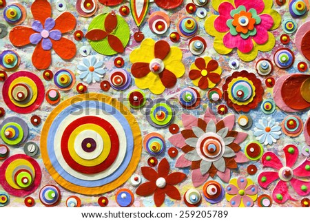 Abstract background of flowers. Close-up.Zentangle like decorative circular floral elements, made of paper