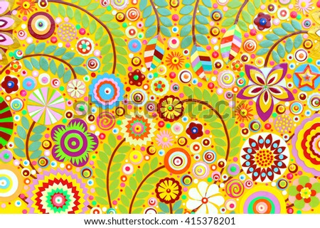 Abstract background of flowers. Flower mix in the unique art painting, environment background surface, floral pattern, embossing ,carving and 3d print. - stock photo