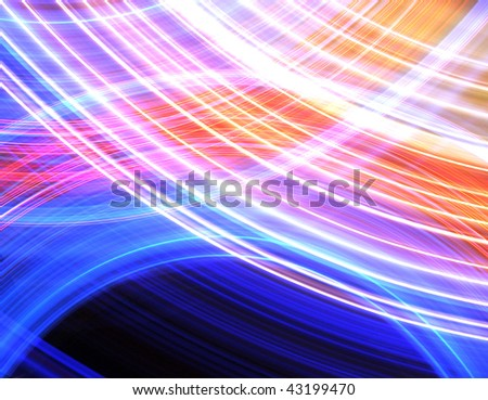 Abstract background of glowing stripes of streaks of light bands in a form of several lines on black background. Long Exposure.