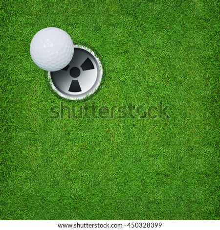 Abstract background of golf hole and golf ball on green grass texture with area and space for graphic design or text.