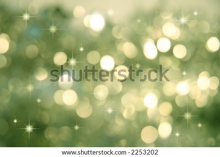 Abstract background of holiday lights/green - stock photo