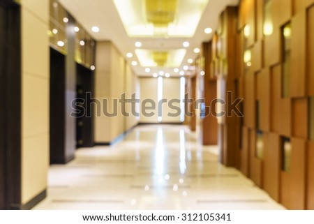 Abstract background of hotel interior, shallow depth and blurry focus. - stock photo