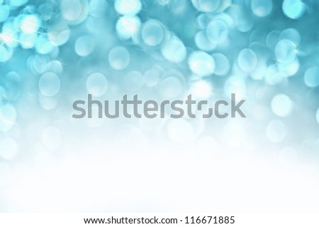 Abstract background of icy blue holiday lights with copy space. - stock photo