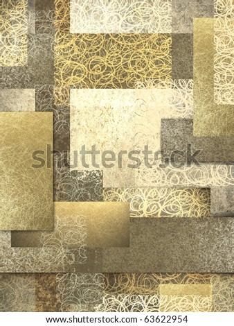 abstract background of layers of brown and beige in warm golden tones and texture collage - stock photo