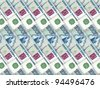 Abstract background of money pile 1000 russian rouble bills. Studio photography. - stock photo