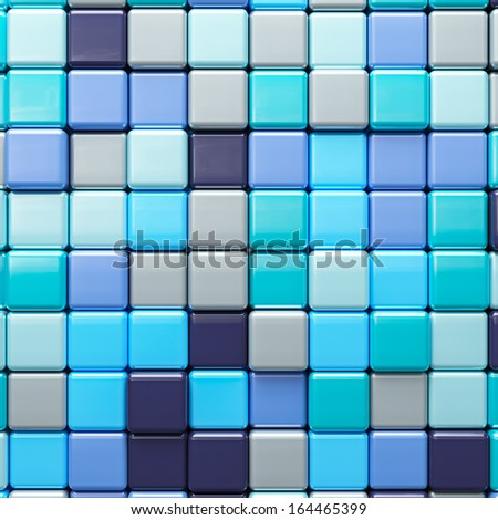 Abstract background of multicolored colorful blue shades cubes