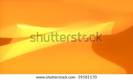 Abstract background of orange and yellow curves in wide-screen format - stock photo