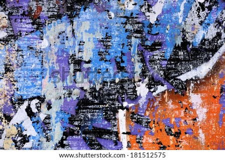 abstract background of peeling paint on old metal wall - stock photo