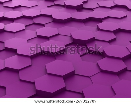 Abstract background of purple 3d hexagon blocks - stock photo