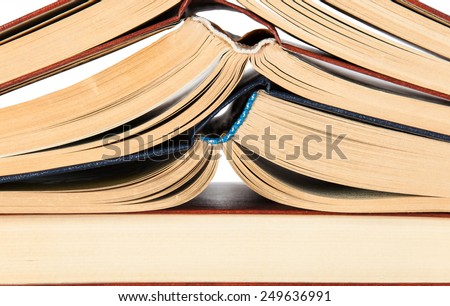 Abstract background of roots open books stacked on each other - stock photo