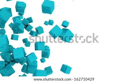 Abstract background of scattered 3d turquoise or cyan cubes tumbling across a white background with copyspace - stock photo