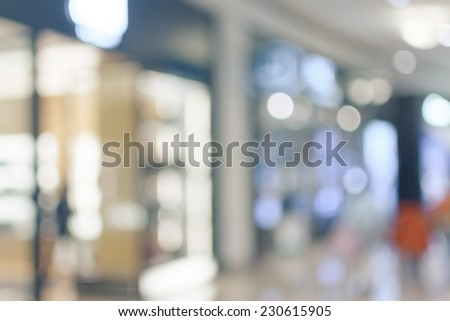 Abstract background of shopping mall, shallow depth of focus. - stock photo
