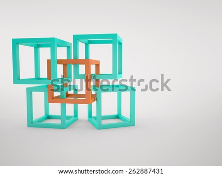 Abstract background of the orange and turquoise cubes - stock photo
