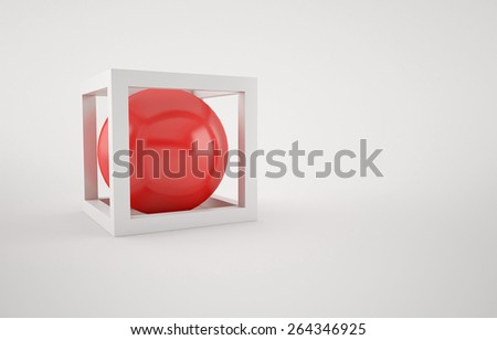 Abstract background of the white Cube and red ball inside - stock photo